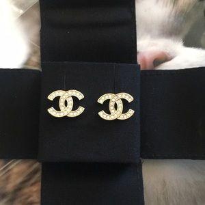 Chanel Classic Gold Crystal CC Logo Earrings